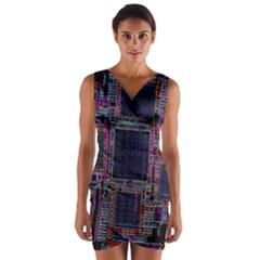Technology Circuit Board Layout Pattern Wrap Front Bodycon Dress