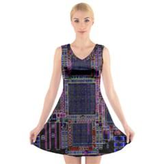 Technology Circuit Board Layout Pattern V Neck Sleeveless Skater Dress
