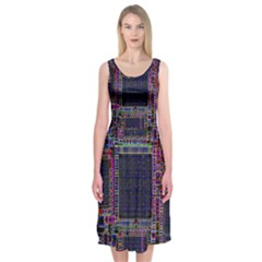 Technology Circuit Board Layout Pattern Midi Sleeveless Dress
