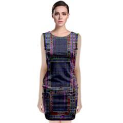 Technology Circuit Board Layout Pattern Classic Sleeveless Midi Dress