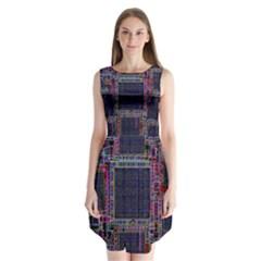 Technology Circuit Board Layout Pattern Sleeveless Chiffon Dress