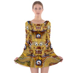 Chinese Dragon Pattern Long Sleeve Skater Dress