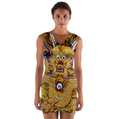 Chinese Dragon Pattern Wrap Front Bodycon Dress