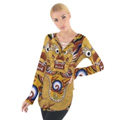 Chinese Dragon Pattern Women s Tie Up Tee