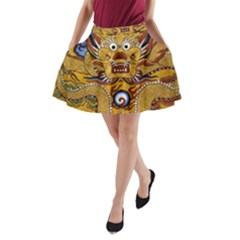 Chinese Dragon Pattern A Line Pocket Skirt
