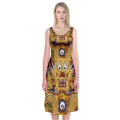 Chinese Dragon Pattern Midi Sleeveless Dress