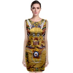 Chinese Dragon Pattern Classic Sleeveless Midi Dress
