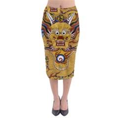 Chinese Dragon Pattern Midi Pencil Skirt
