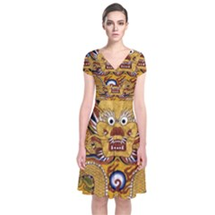 Chinese Dragon Pattern Short Sleeve Front Wrap Dress