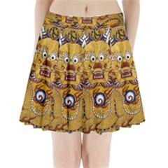 Chinese Dragon Pattern Pleated Mini Skirt