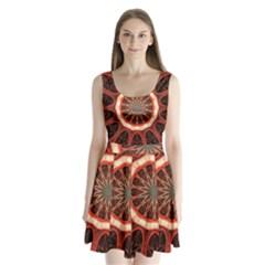 Circle Pattern Split Back Mini Dress