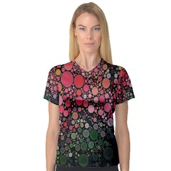 Circle Abstract Women s V Neck Sport Mesh Tee