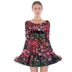 Circle Abstract Long Sleeve Skater Dress