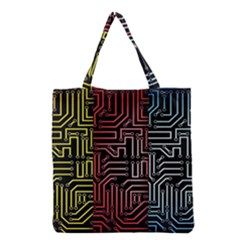 Circuit Board Seamless Patterns Set Grocery Tote Bag