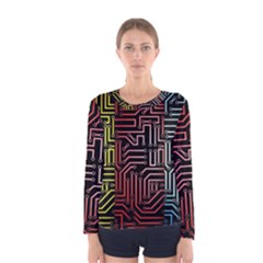 Circuit Board Seamless Patterns Set Women s Long Sleeve Tee