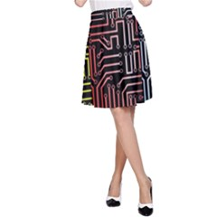Circuit Board Seamless Patterns Set A Line Skirt