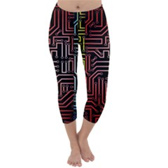 Circuit Board Seamless Patterns Set Capri Winter Leggings