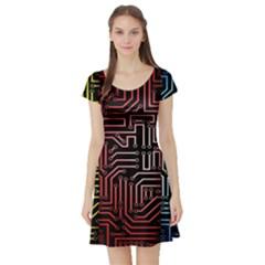 Circuit Board Seamless Patterns Set Short Sleeve Skater Dress