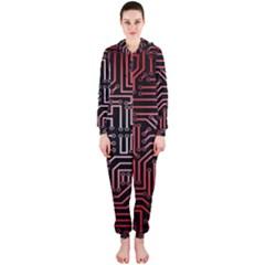 Circuit Board Seamless Patterns Set Hooded Jumpsuit (Ladies)