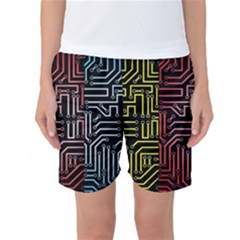 Circuit Board Seamless Patterns Set Women s Basketball Shorts