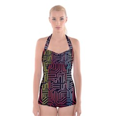 Circuit Board Seamless Patterns Set Boyleg Halter Swimsuit
