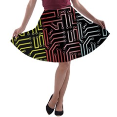 Circuit Board Seamless Patterns Set A Line Skater Skirt