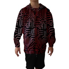 Circuit Board Seamless Patterns Set Hooded Wind Breaker (Kids)