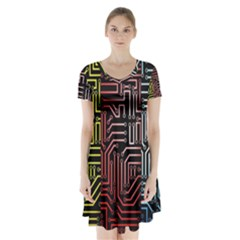 Circuit Board Seamless Patterns Set Short Sleeve V-neck Flare Dress