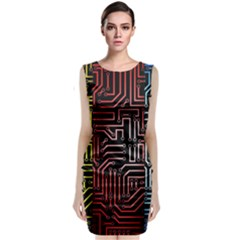 Circuit Board Seamless Patterns Set Classic Sleeveless Midi Dress