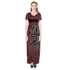 Circuit Board Seamless Patterns Set Short Sleeve Maxi Dress