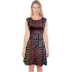 Circuit Board Seamless Patterns Set Capsleeve Midi Dress