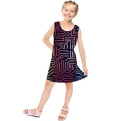 Circuit Board Seamless Patterns Set Kids  Tunic Dress