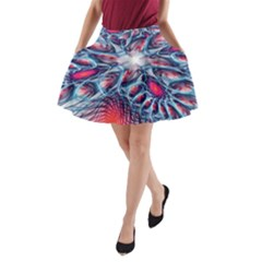 Creative Abstract A Line Pocket Skirt