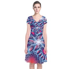 Creative Abstract Short Sleeve Front Wrap Dress