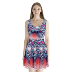 Creative Abstract Split Back Mini Dress
