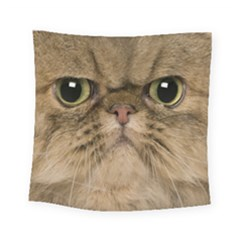 Cute Persian Cat Face In Closeup Square Tapestry (small)