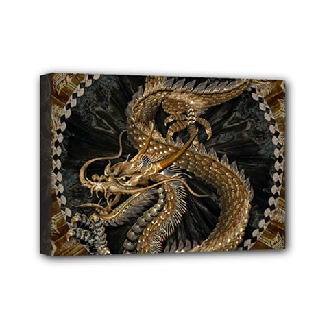 Dragon Pentagram Mini Canvas 7  X 5
