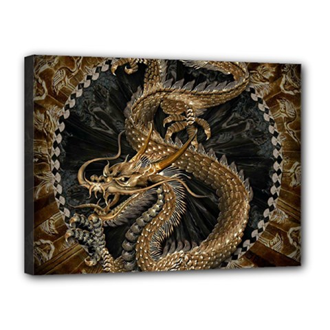 Dragon Pentagram Canvas 16  X 12