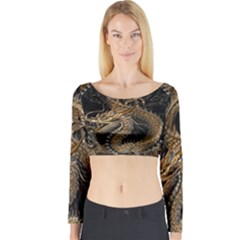 Dragon Pentagram Long Sleeve Crop Top