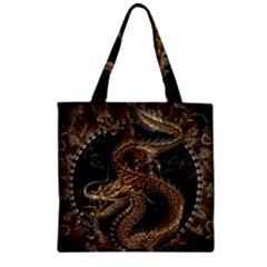 Dragon Pentagram Zipper Grocery Tote Bag