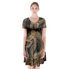 Dragon Pentagram Short Sleeve V Neck Flare Dress