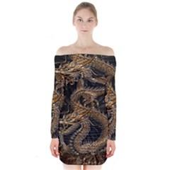 Dragon Pentagram Long Sleeve Off Shoulder Dress