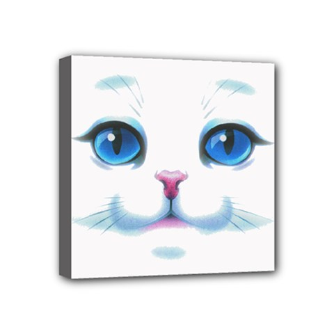 Cute White Cat Blue Eyes Face Mini Canvas 4  x 4