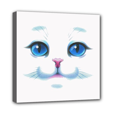 Cute White Cat Blue Eyes Face Mini Canvas 8  X 8