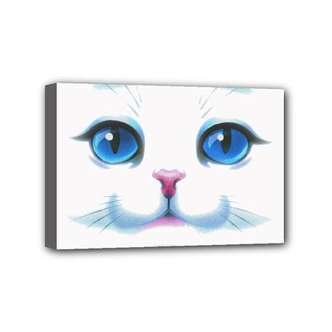 Cute White Cat Blue Eyes Face Mini Canvas 6  X 4