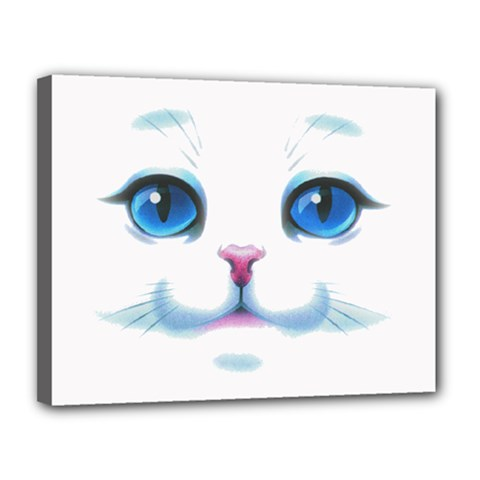 Cute White Cat Blue Eyes Face Canvas 14  X 11