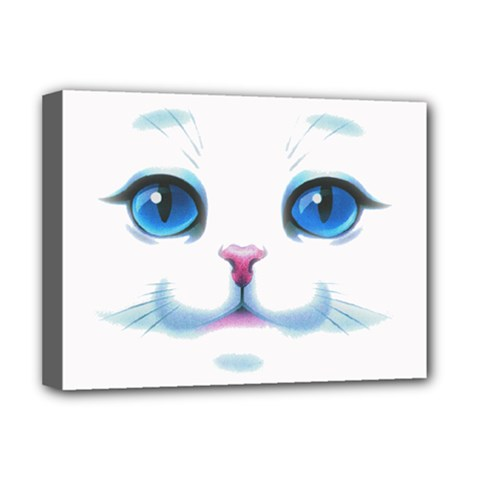 Cute White Cat Blue Eyes Face Deluxe Canvas 16  X 12