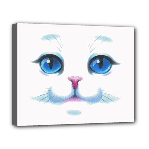 Cute White Cat Blue Eyes Face Deluxe Canvas 20  X 16