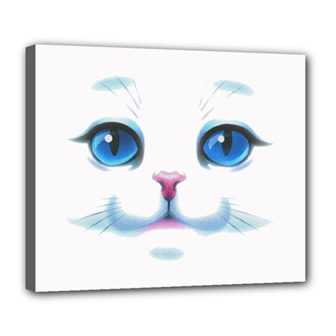 Cute White Cat Blue Eyes Face Deluxe Canvas 24  X 20