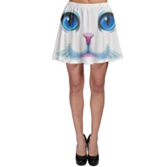 Cute White Cat Blue Eyes Face Skater Skirt
